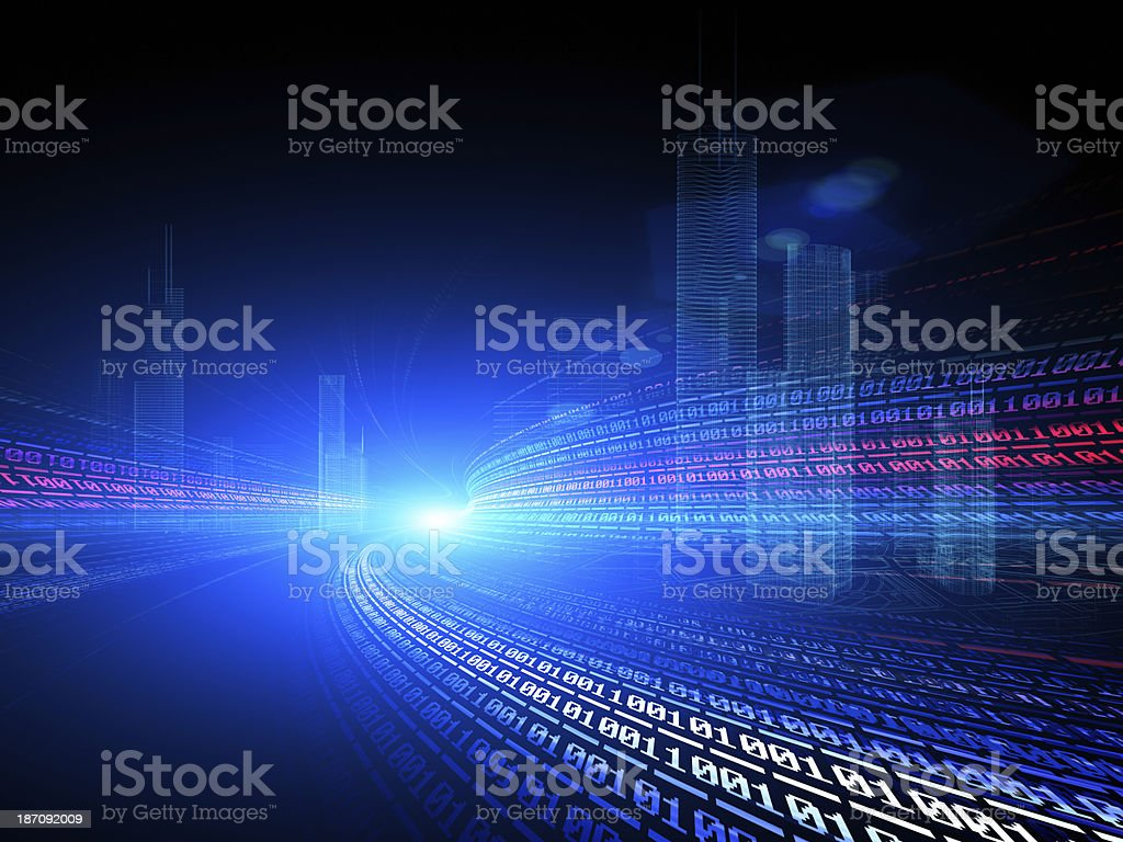 Binary abstract city, 3d modern background royalty-free stock photo