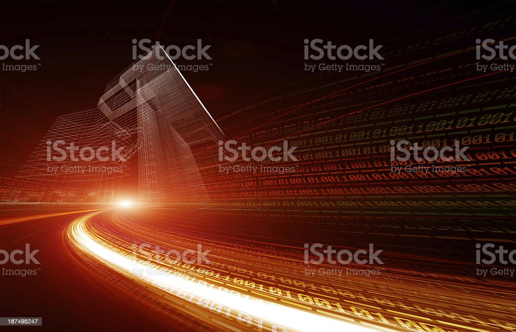 Binary abstract city royalty-free stock photo