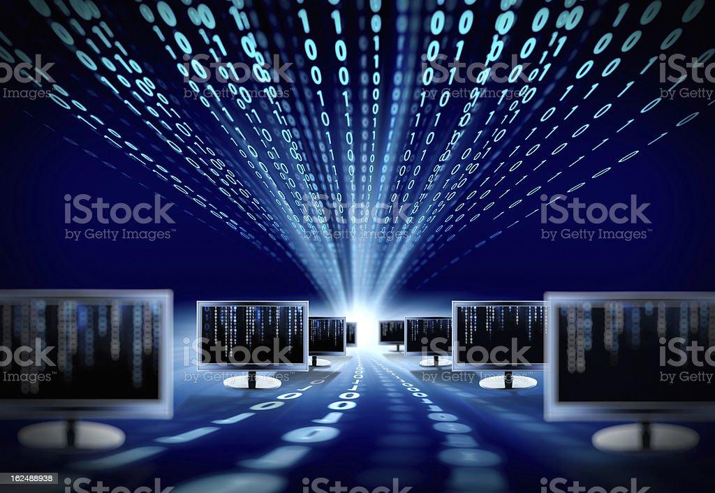 binary code and computer monitors royalty-free stock photo