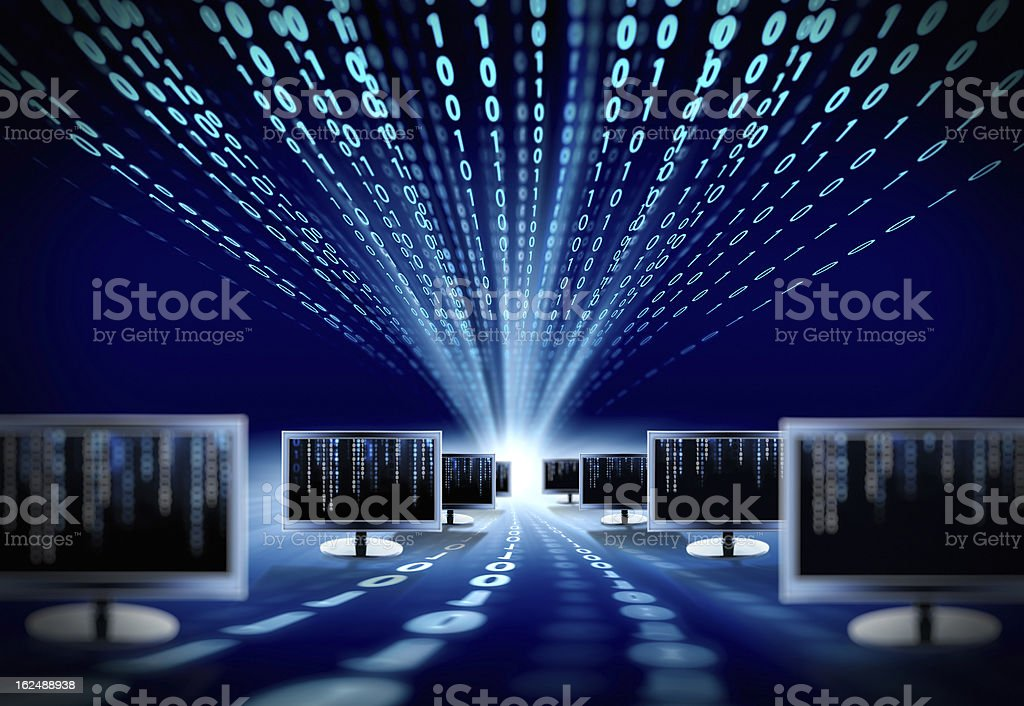 binary code and computer monitors stock photo