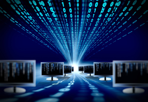 Binary Code And Computer Monitors Stock Photo - Download Image Now