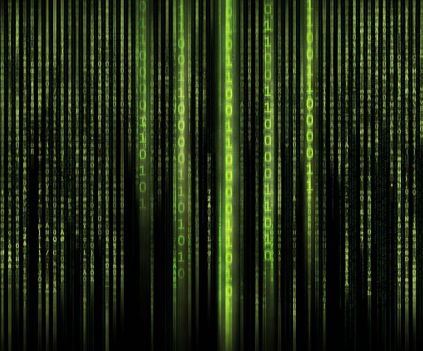 binary code and matrix style letters. - bit binary stock pictures, royalty-free photos & images