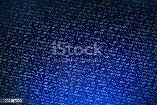 istock binary code background. number one and zero in pattern moved upward. 1025187220