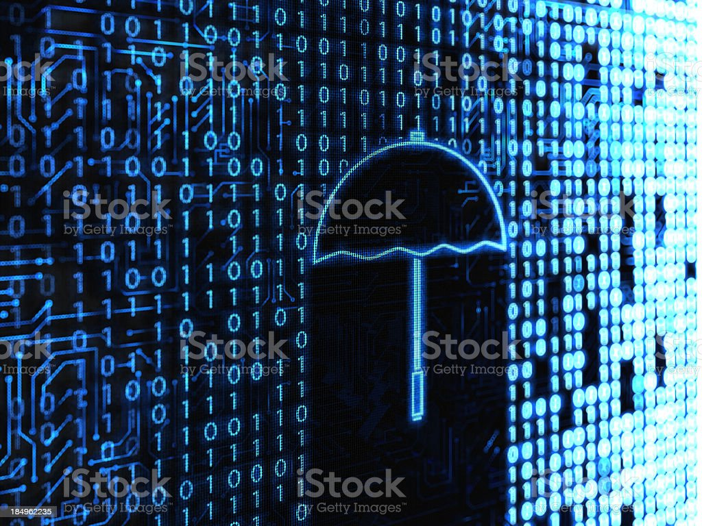 A binary code background with a pixelated umbrella royalty-free stock photo