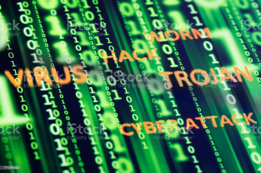 Binary code background with cyber threats written on top stock photo