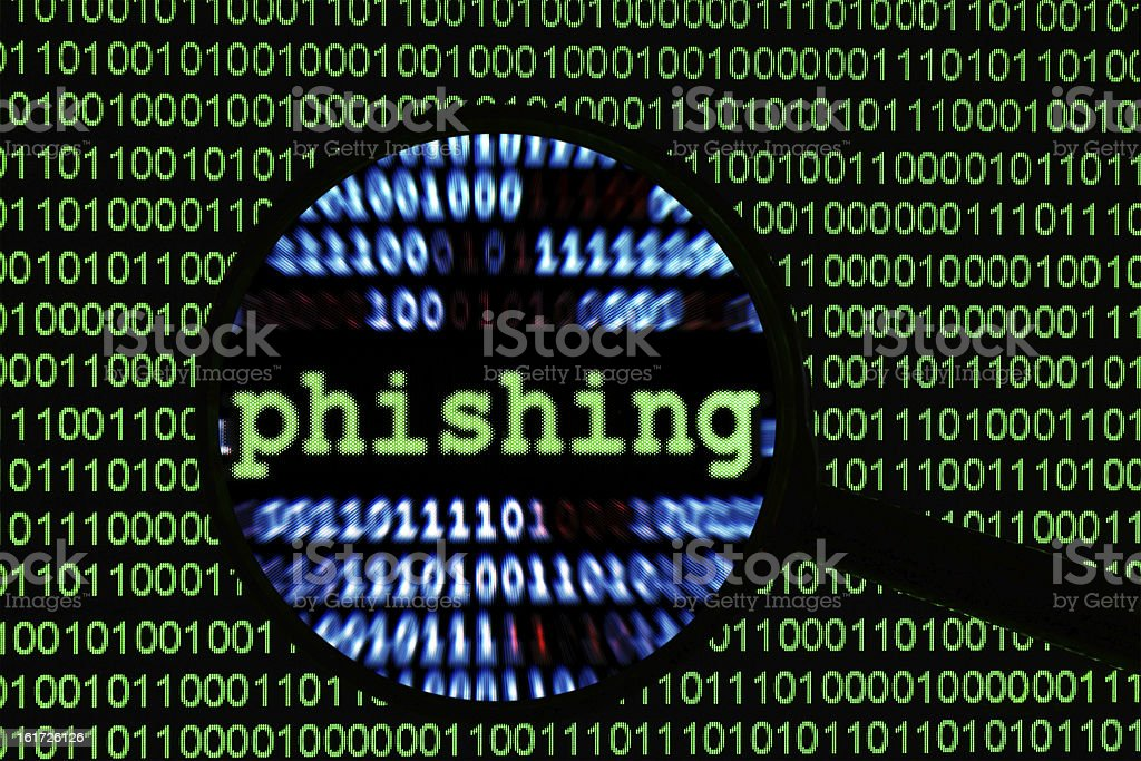 A binary code background with phishing magnified stock photo
