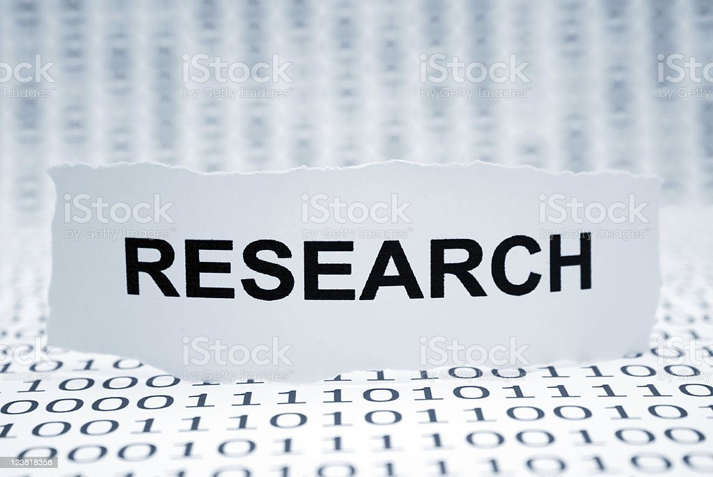 Binary code background with the word research royalty-free stock photo