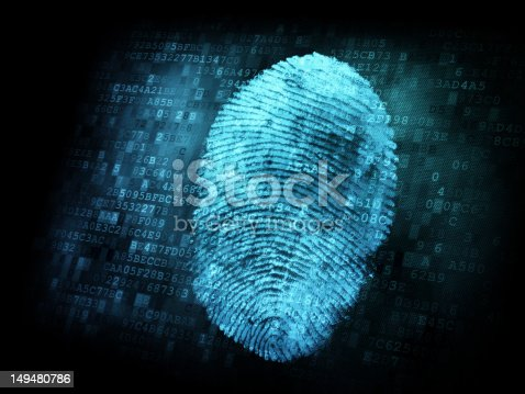 Fingerprint on digital screen, information security concept