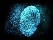 Fingerprint on digital screen, information security concept