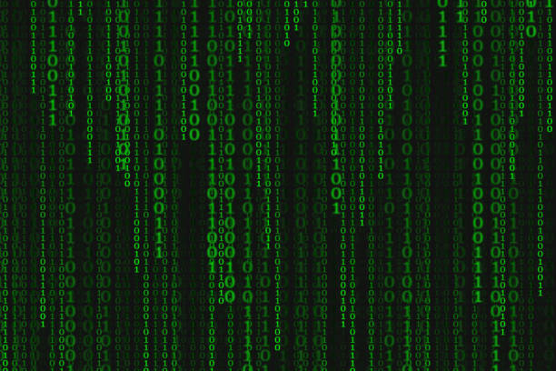 binary code black and green background with digits on screen, concept of digital age. algorithm binary, data code, decryption and encoding, row matrix, illustration background. - bit binary stock pictures, royalty-free photos & images
