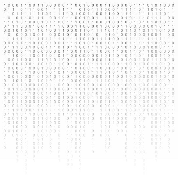 Binary code black and white background with digits on screen stock photo