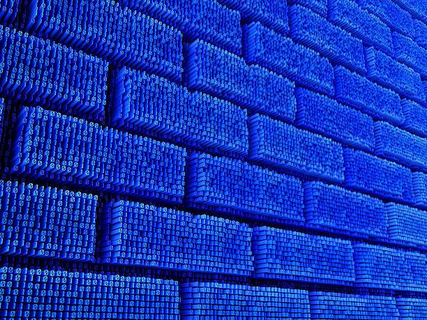 binary code bricks stock photo