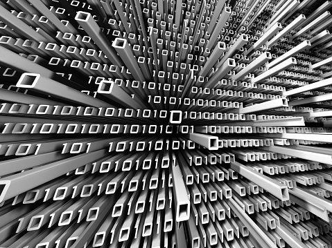 Binary Code Buildings Stock Photo - Download Image Now