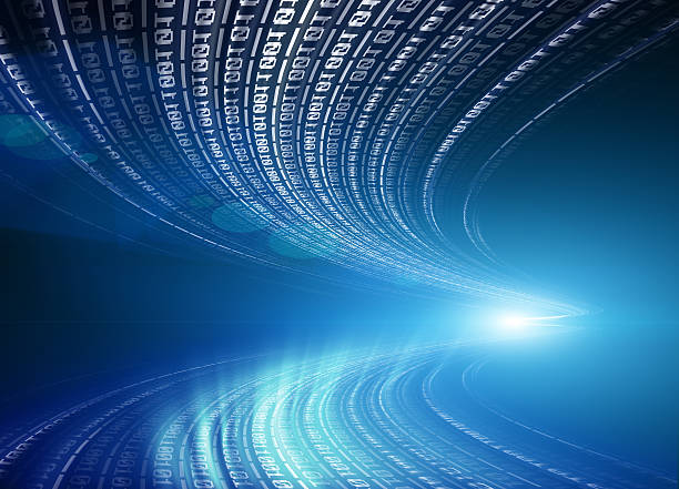 Binary code flowing through space stock photo