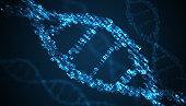 Binary code inside DNA helix. 3D rendered illustration.