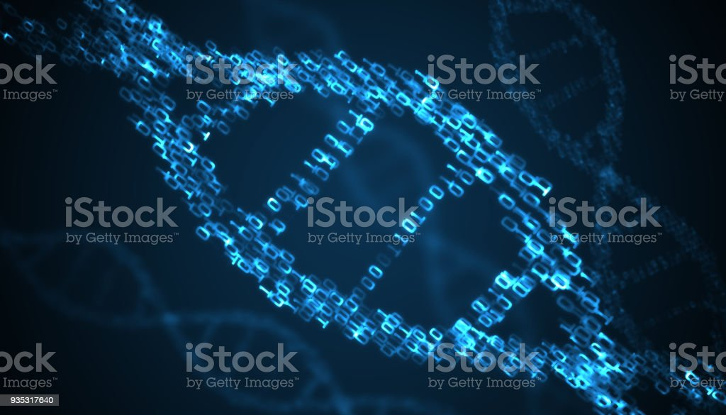 Binary code inside DNA helix. 3D rendered illustration. stock photo