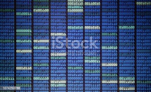 istock binary code on Computer screen 1074250788
