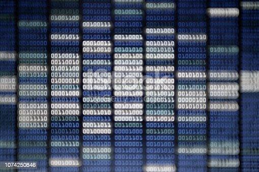 istock binary code on Computer screen 1074250846