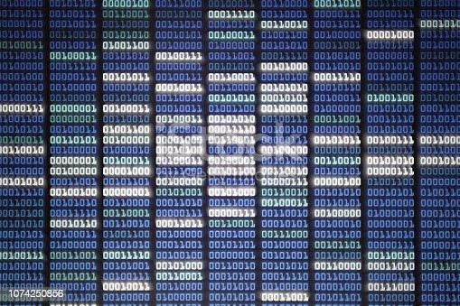 istock binary code on Computer screen 1074250856
