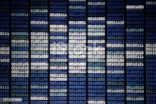 istock binary code on Computer screen 1074250868