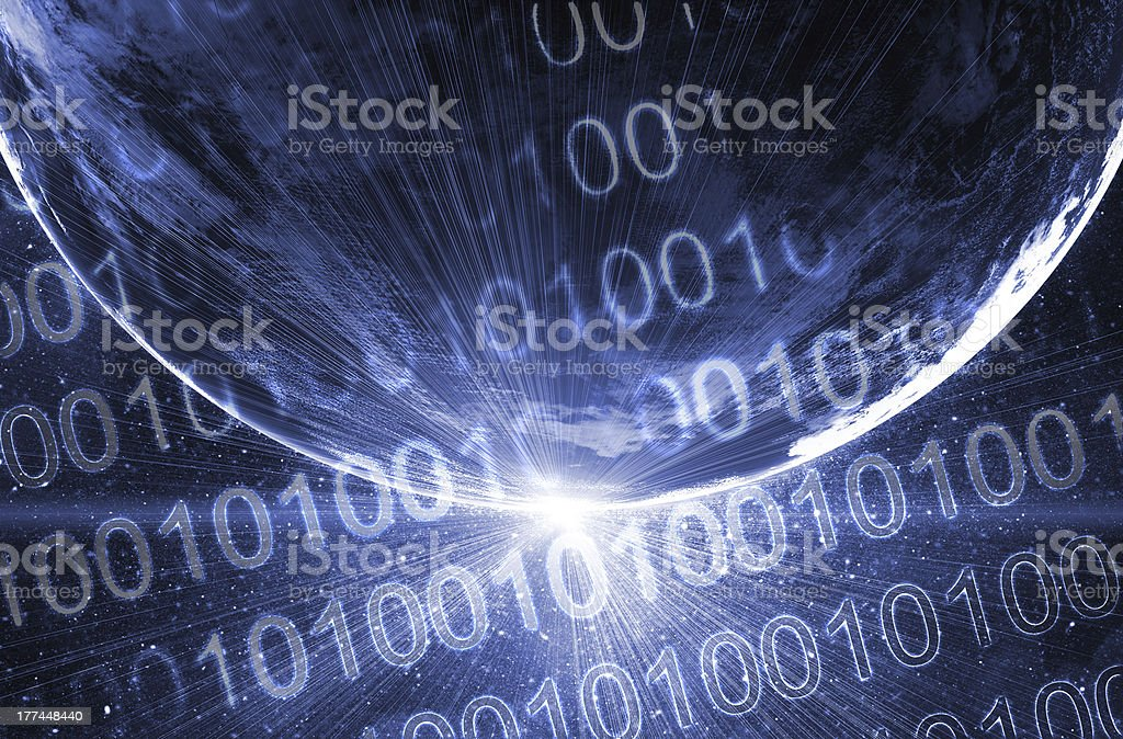 Binary code on high technology backgroun stock photo