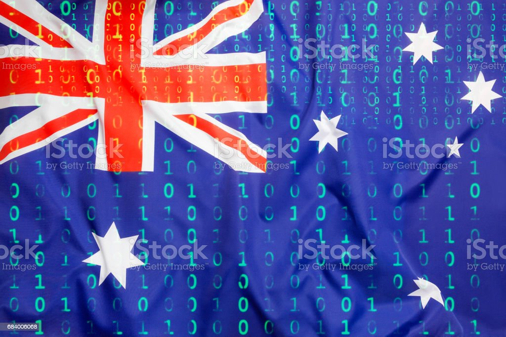 Binärcode mit australische Flagge, Datenschutzkonzept – Foto