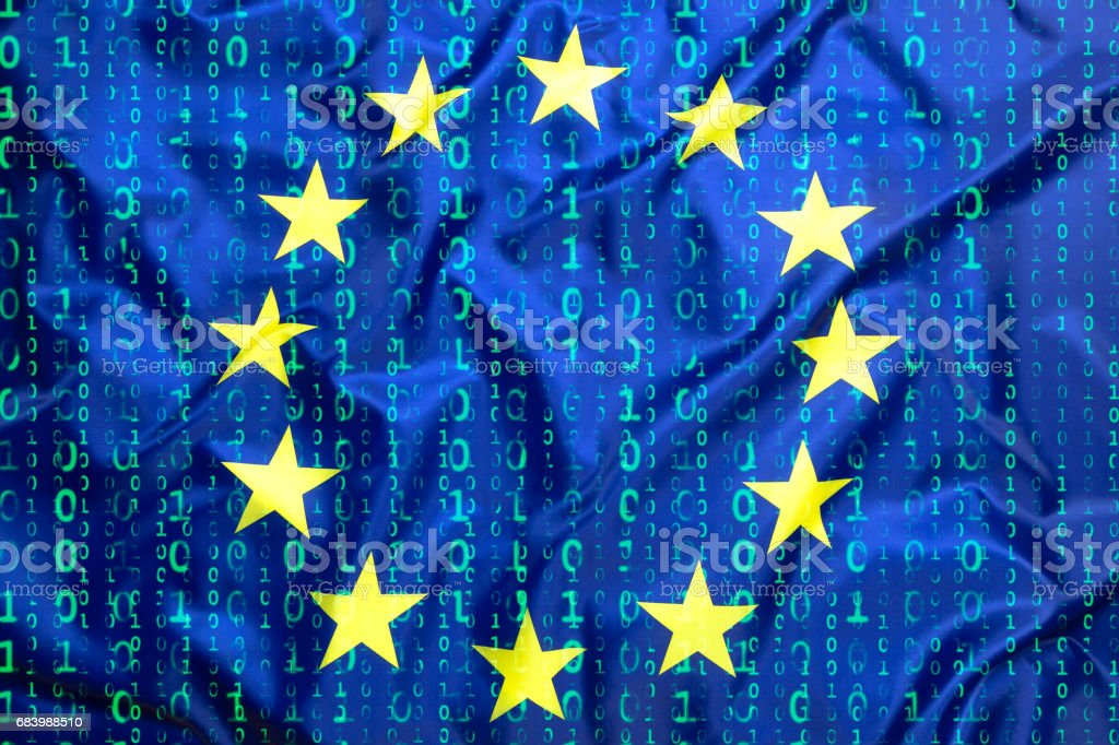 Binary code with European Union flag stock photo