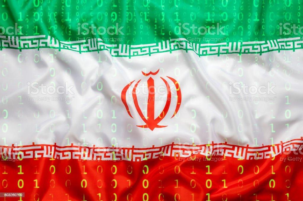 Binärcode mit Iran Flagge, Datenschutzkonzept – Foto
