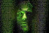 Binary Codes and Hacker Face
