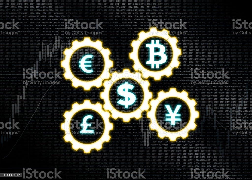 binary codes money symbols in gears