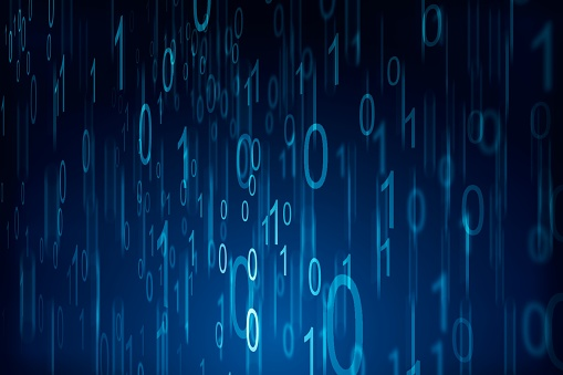 848353924 istock photo Binary computer code on blue background. 01 numbers pattern. Data and technology texture. 3D Rendering 1205459778