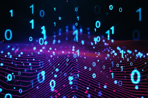 848353924 istock photo Binary computer code on blue background. 01 numbers pattern. Data and technology texture. 3D Rendering 1218501852
