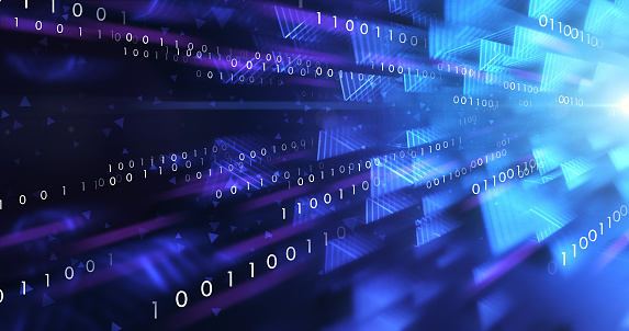 Beautifully rendered depiction of a binary data stream, perfectly usable for a wide range of topics related to the internet, computer networks or artificial intelligence.