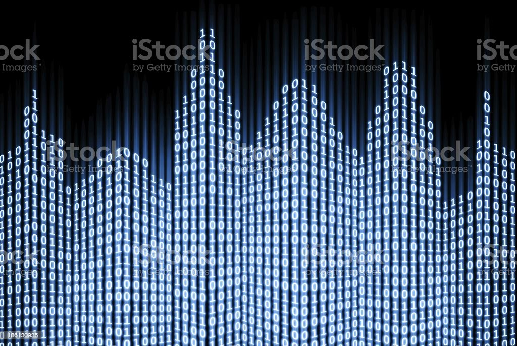 Binary digital city, abstract 3d tech background stock photo