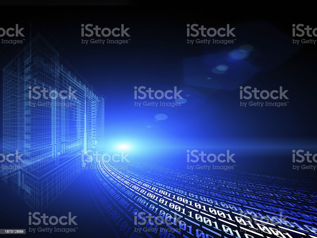 Binary digital city, abstract 3d tech background royalty-free stock photo