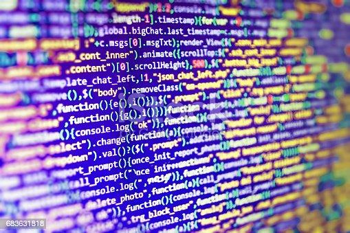 istock Binary digits code editing. Big data storage and cloud computing representation and programming code typing. 683631818
