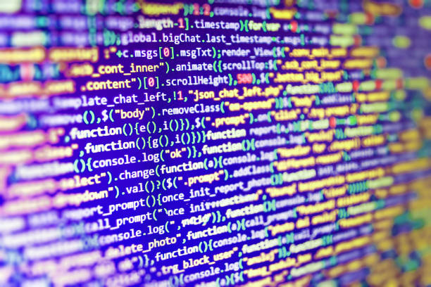 Binary digits code editing. Big data storage and cloud computing representation and programming code typing. stock photo