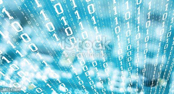 882141812istockphoto Binary digits stolen computer data, cyber attack threat 882141854