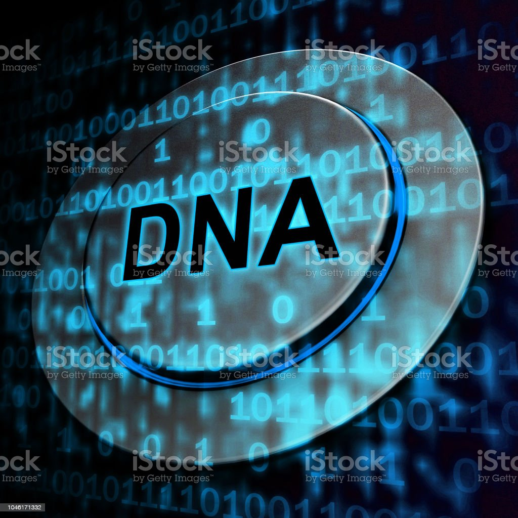 Binary Dna Chromosome Digital Bits 3d Rendering stock photo