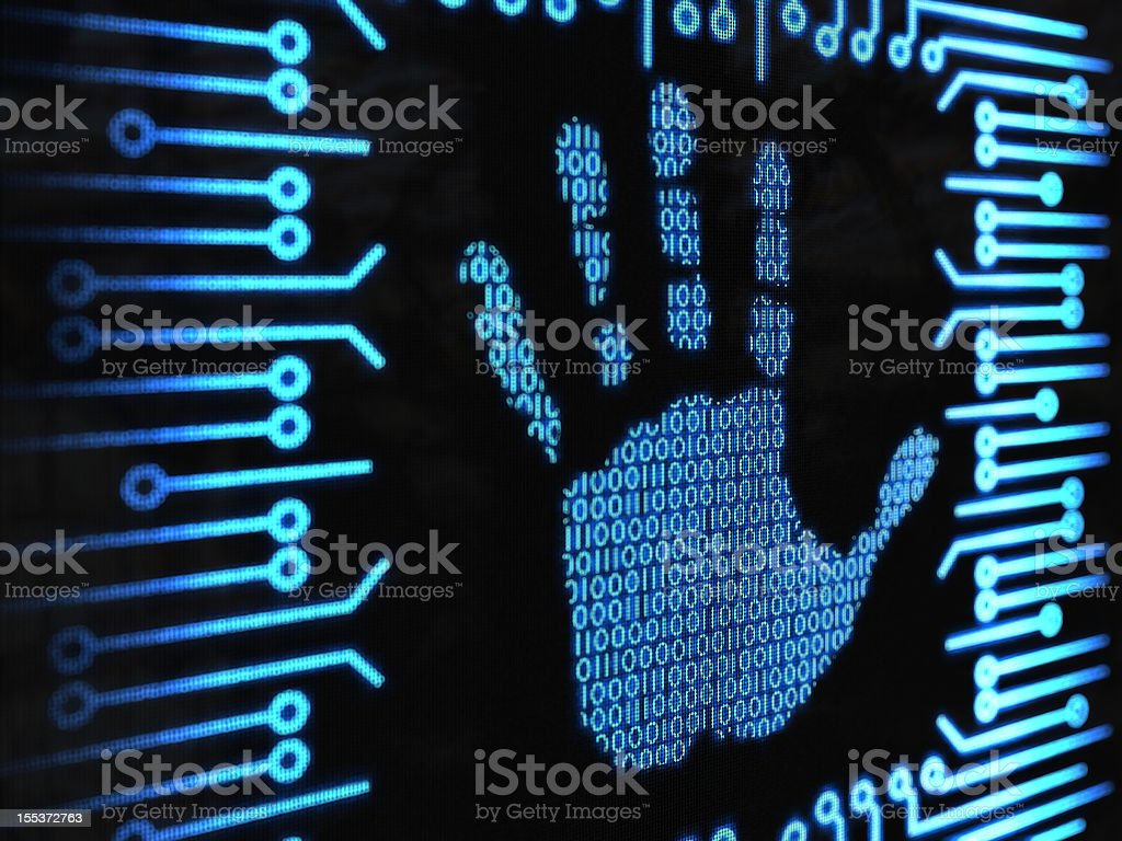binary handprint royalty-free stock photo