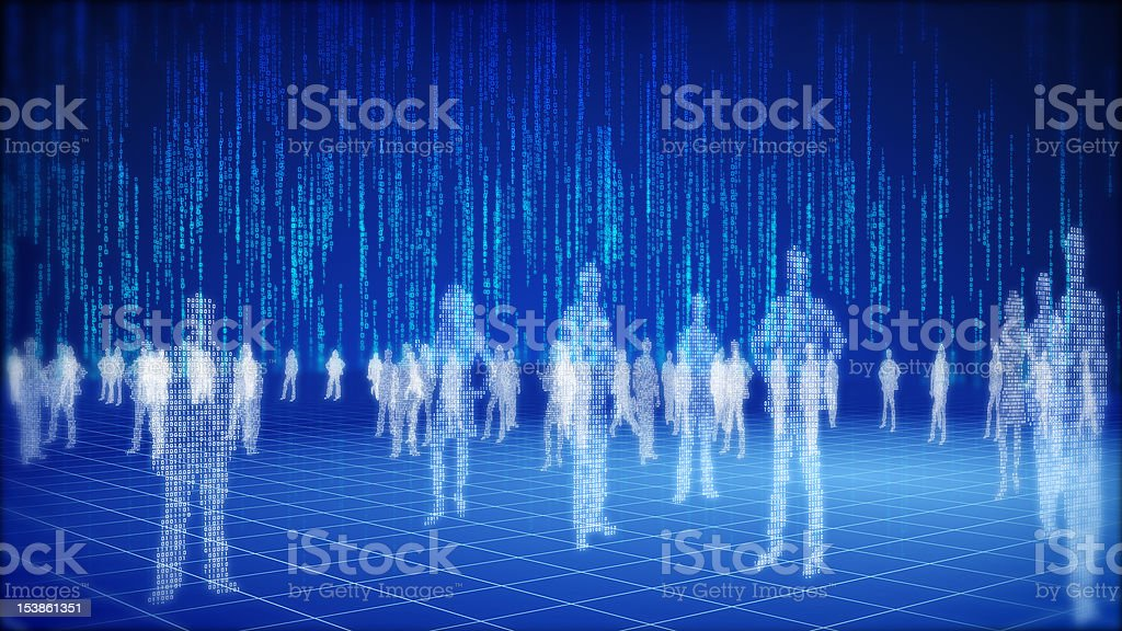 Binary information space concept. stock photo