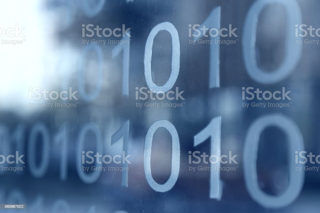 Binary number technology Internet computer background on the gla stock photo