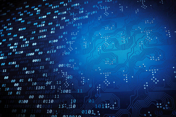 Binary numbers with integrated circuit stock photo