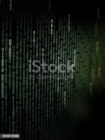 istock binary text coding background moving vertically on dark blue green color background with diffrent thickness and transparency. 923618466