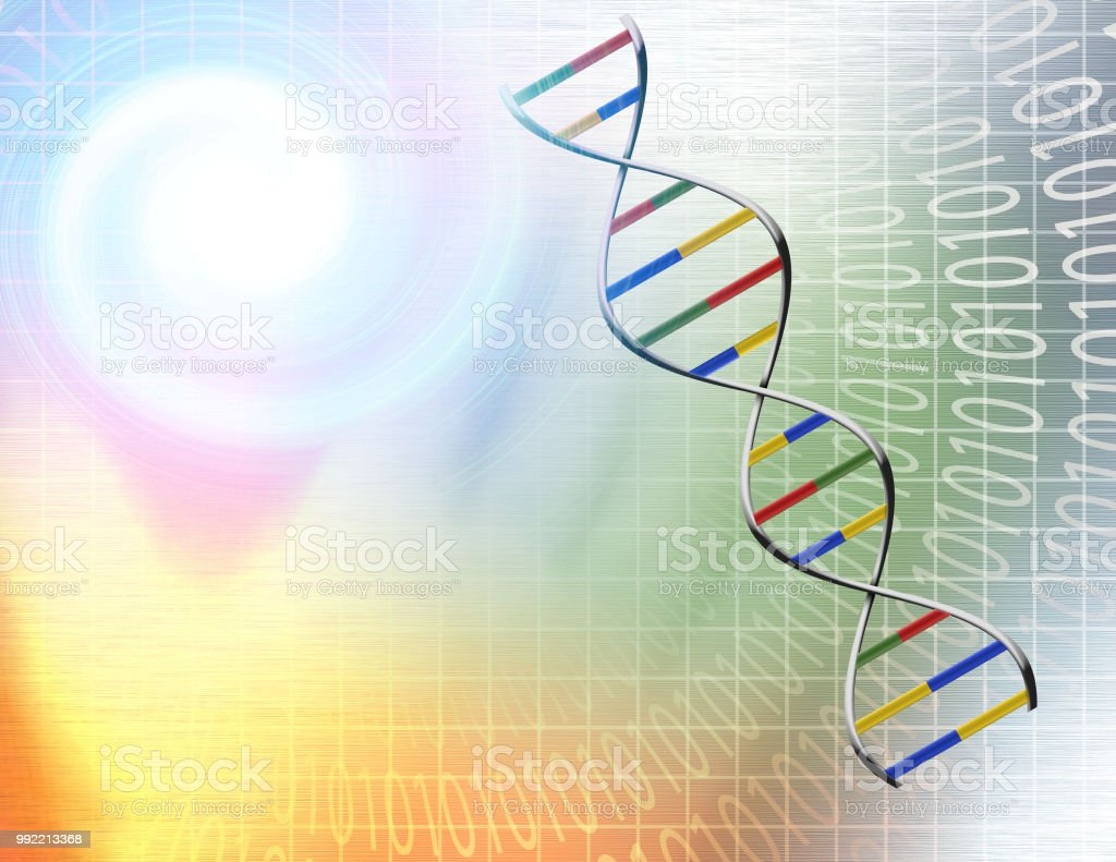 Binary tunnel and DNA Strand stock photo