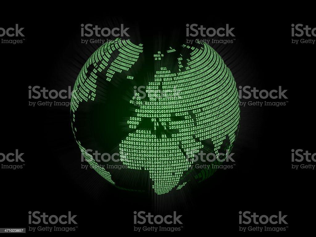 Binary World Globe (Europe) royalty-free stock photo