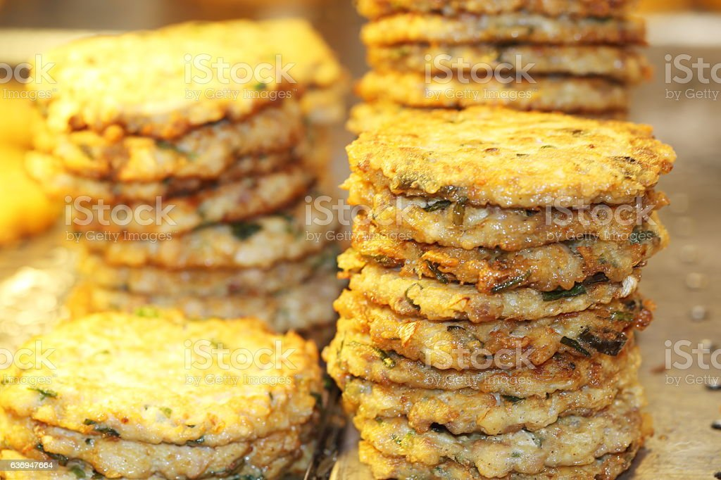 bindaetteok, mung-bean pancake, green-gram pancake stock photo