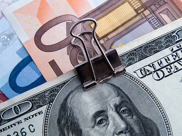 Binded Dollars And Euros Stock Photo
