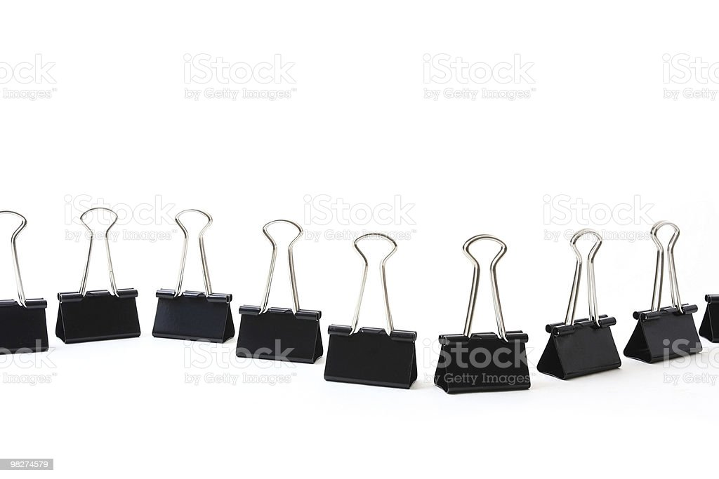 Binder Clips in a Row royalty-free stock photo