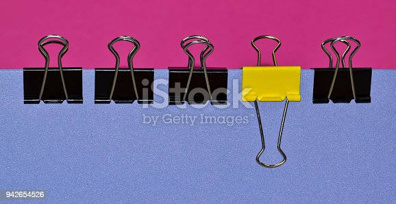 istock Binder clips with contrast and bold colors. 942654526